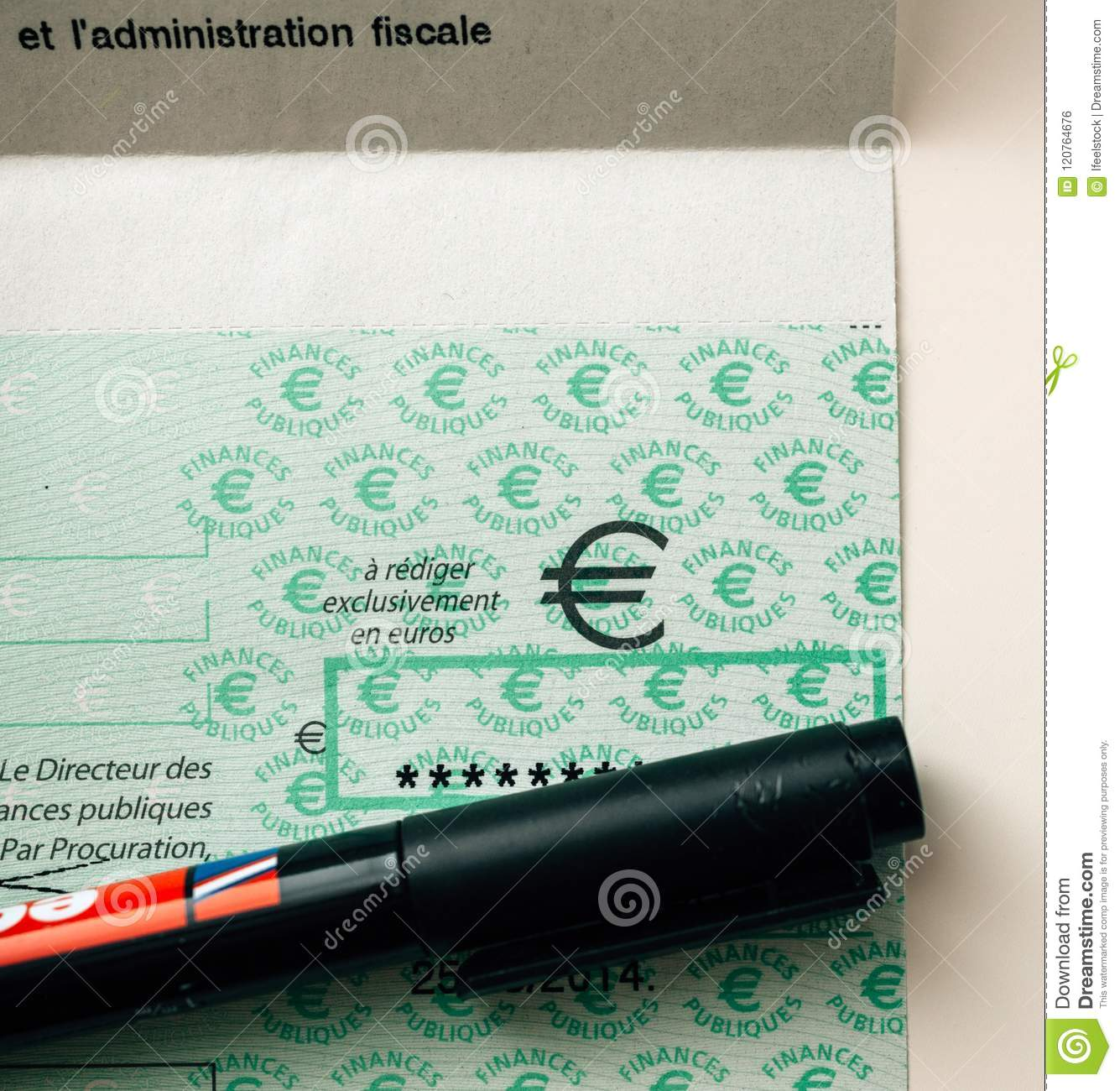 Taxes In France Cheque Issued By The Direction Generale Des Fina ...