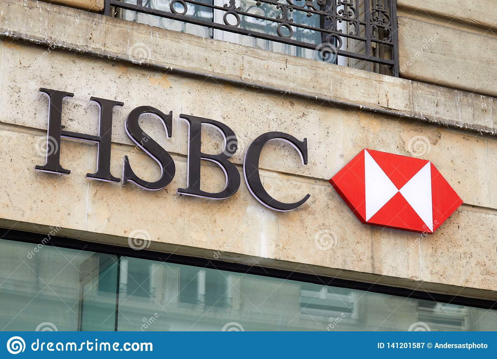 HSBC Bank Sign And Logo In Paris, France Editorial