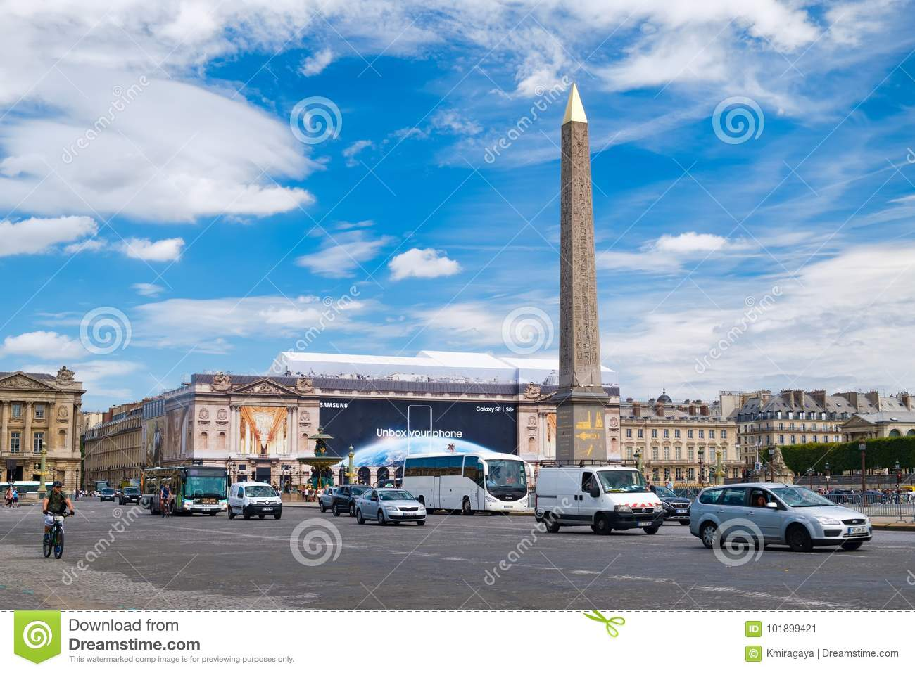 The Place De La Concorde And The Luxor Obelisk On A Summer