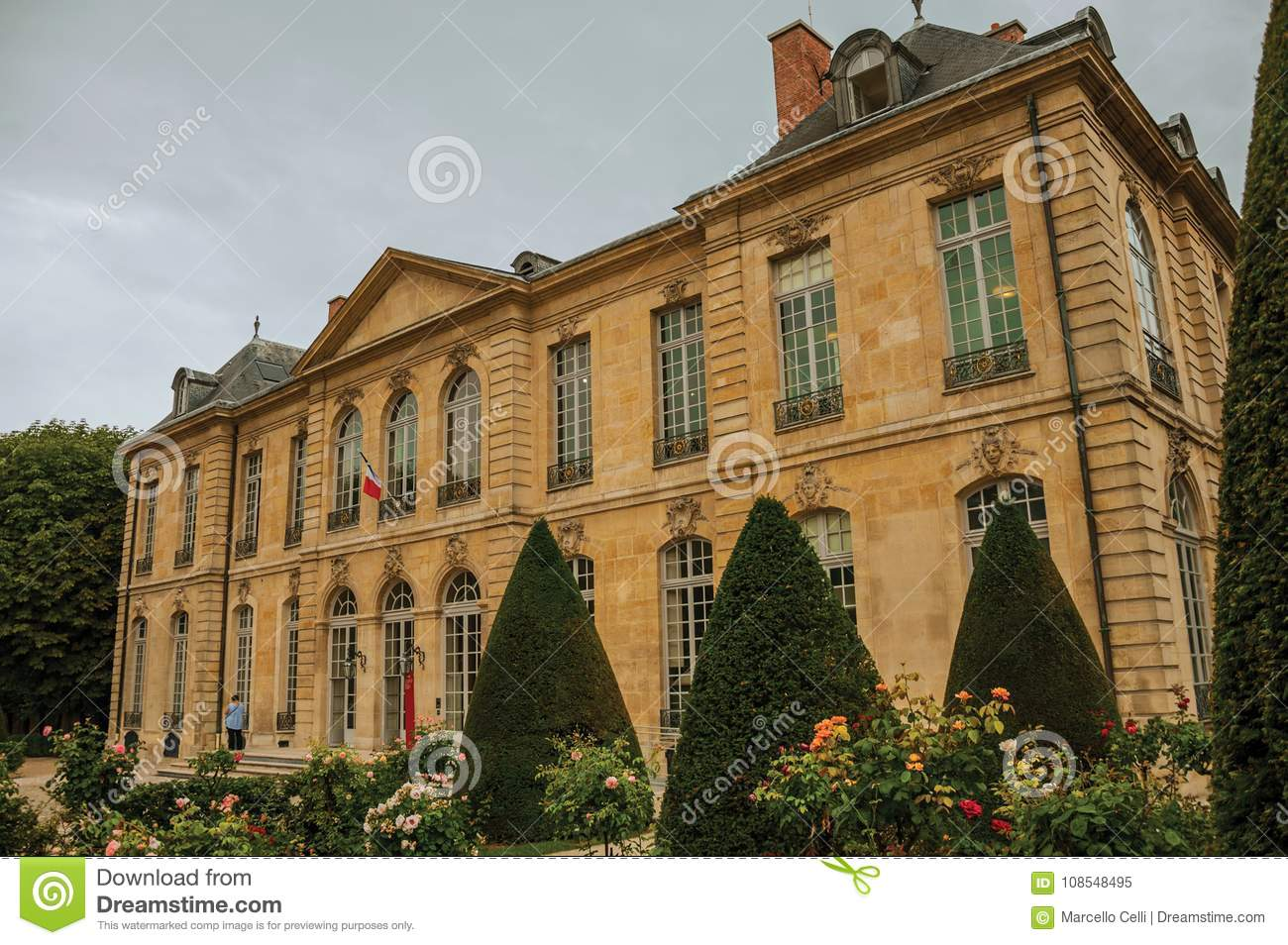 Rodin Museum Building And Gardens On Cloudy Day In Paris. Editorial ...