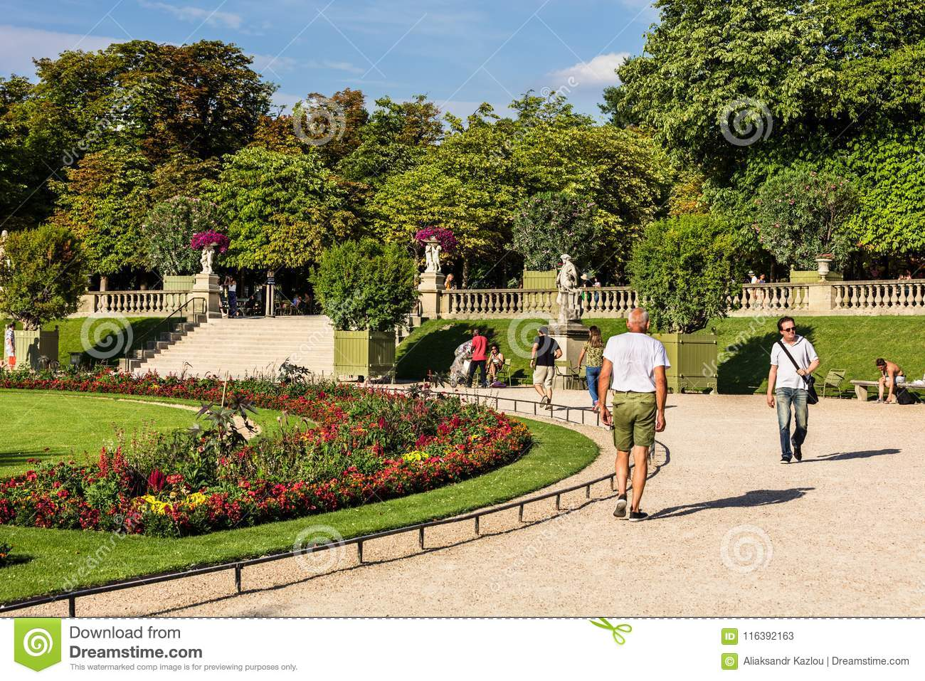 Tourists And Parisians Relaxing In The Luxembourg Gardens Paris