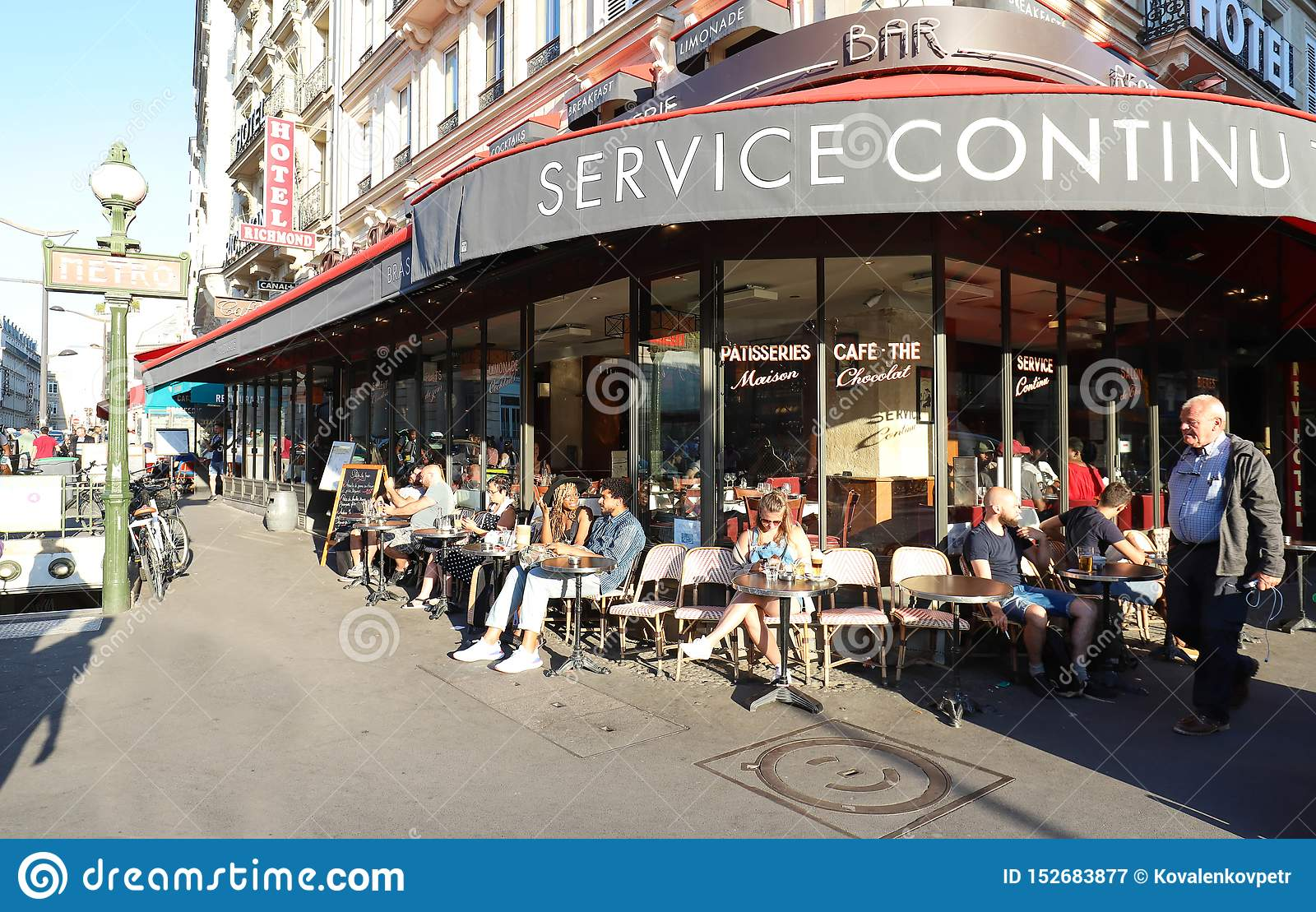 Typical Parisian Cafe Paris Nord Located Next Gare Du Nord Railway Station In Paris France Editorial Photography Image Of Facade Dusk 152683877