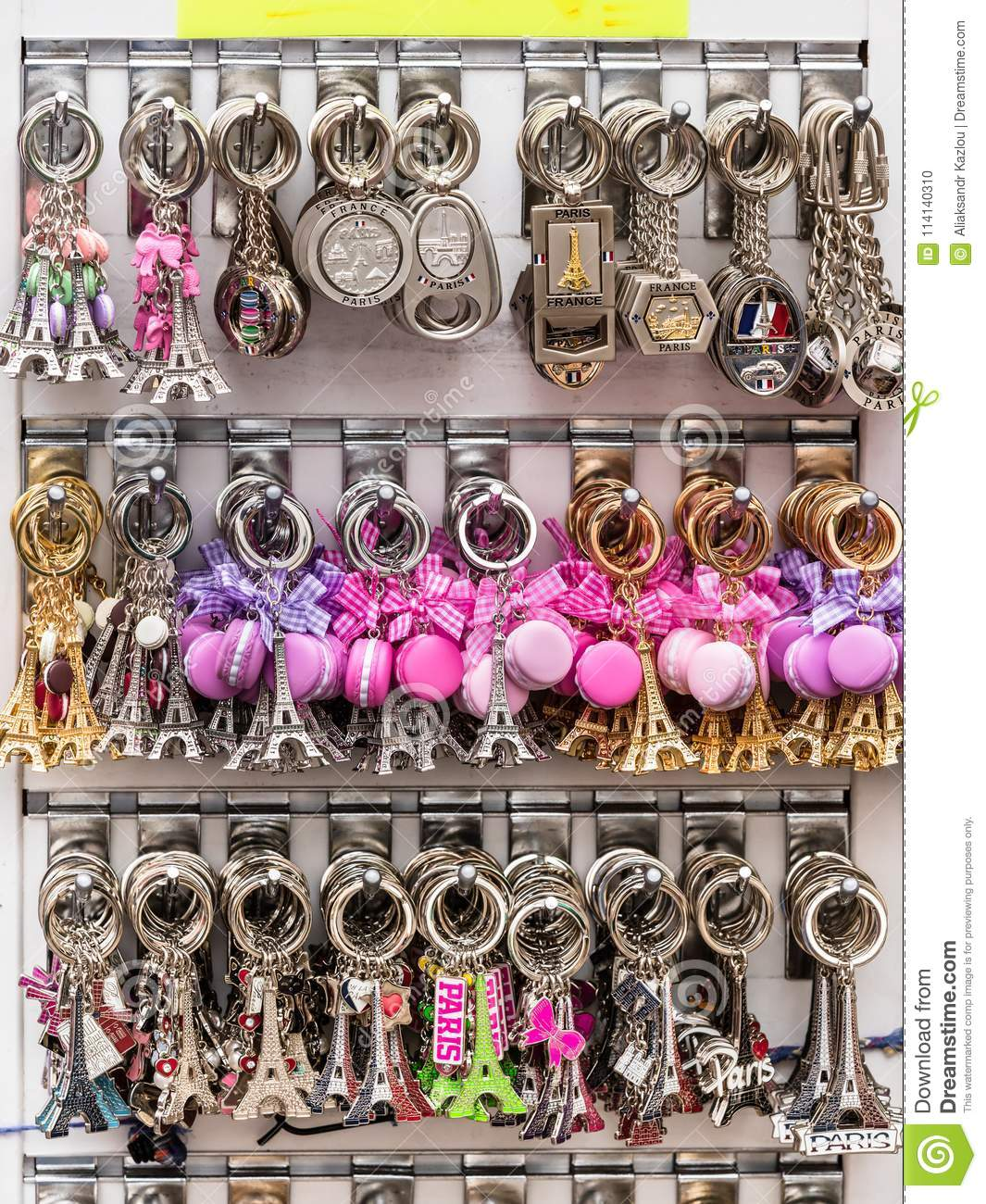 Souvenir Key Rings With The Symbols Of Paris In The Gift