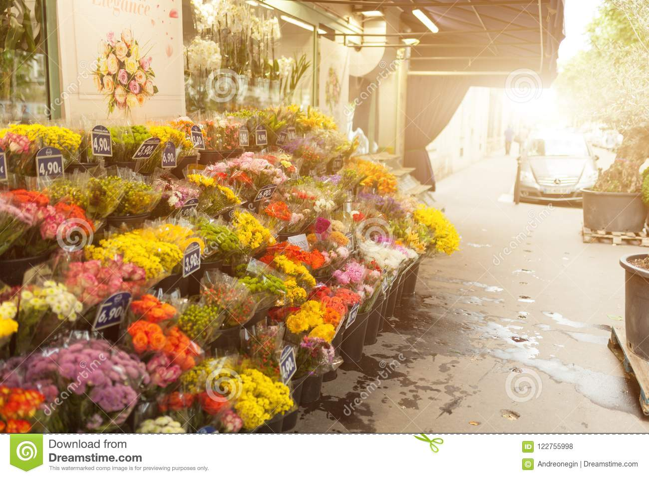 Paris France 02 June 2018 Flower Market There Are Many Beautiful