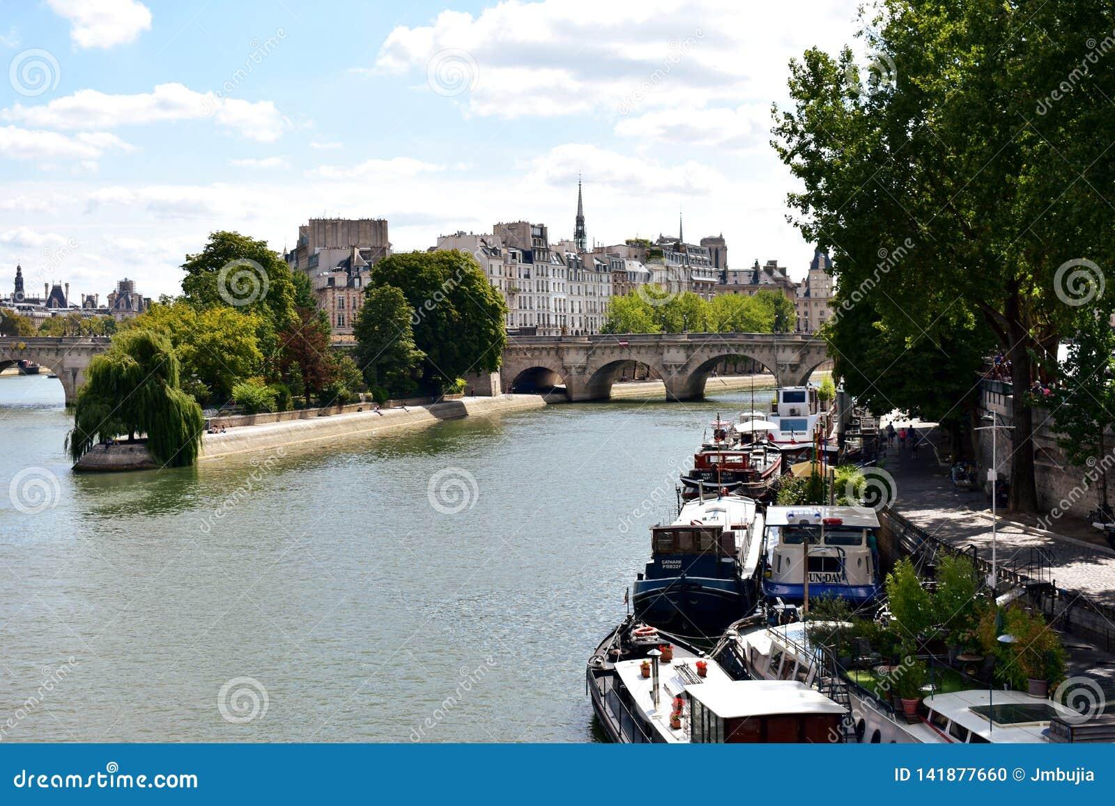 Paris, France La Seine avec des bateaux et Ile de la Cite de Pont des Arts Vue de place de Vert Galant avec le parc 17 août 2018