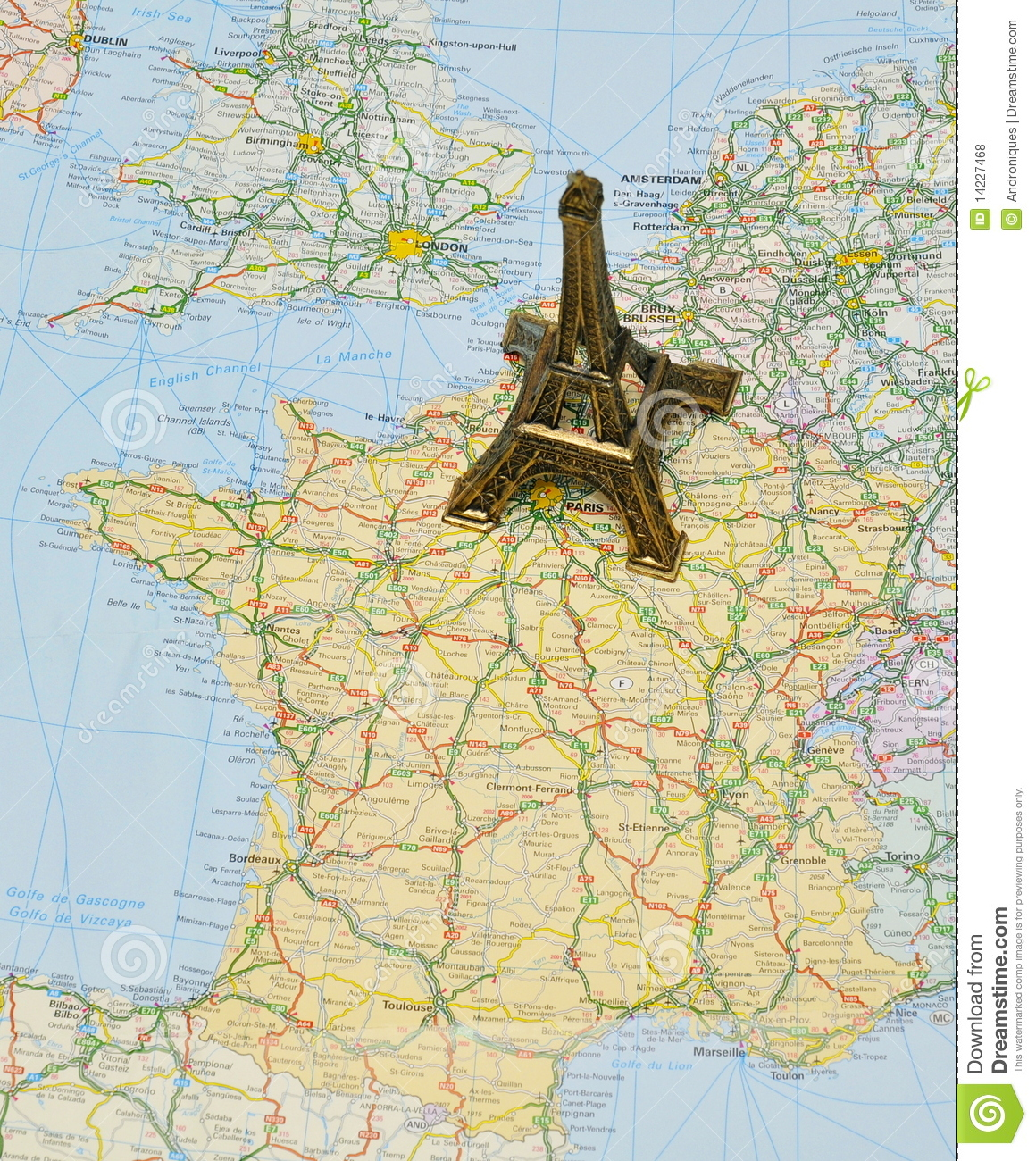 paris on france map with miniature eiffel tower