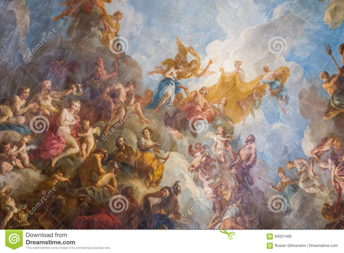 Paris France March 28 2017 Ceiling Painting In Hercules