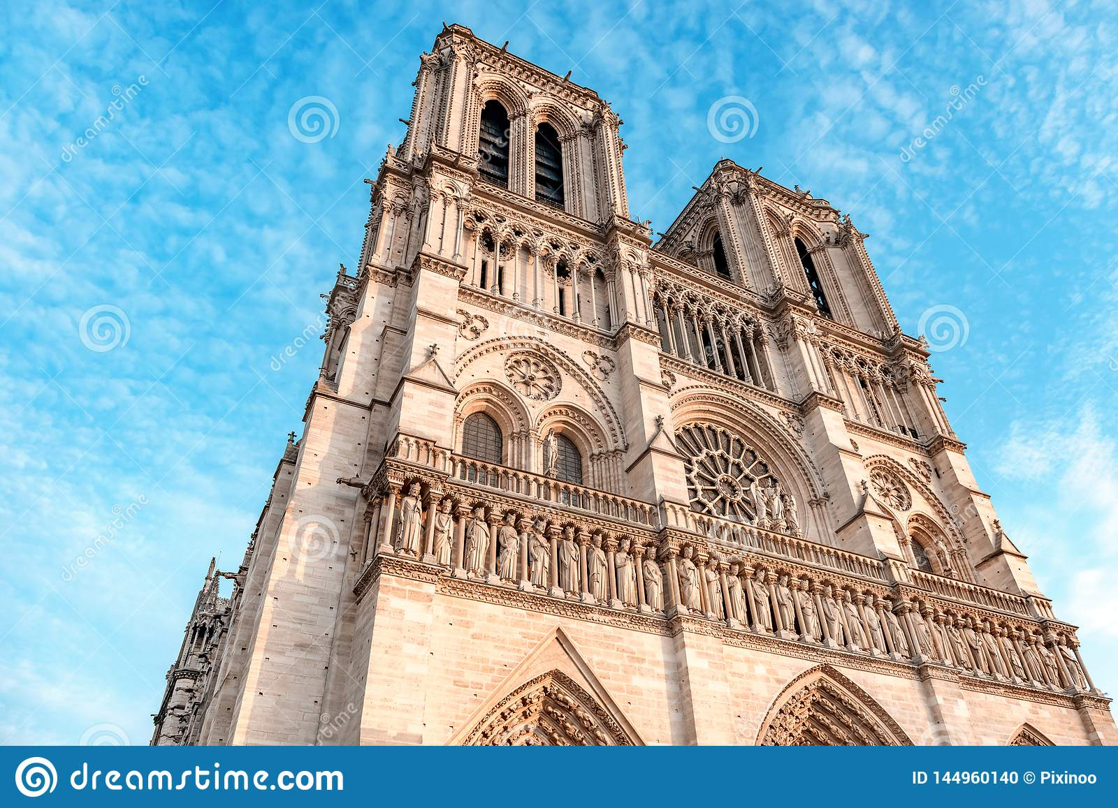 Front side of Notre Dame de Paris Cathedral, most beautiful Cathedral in Paris. France