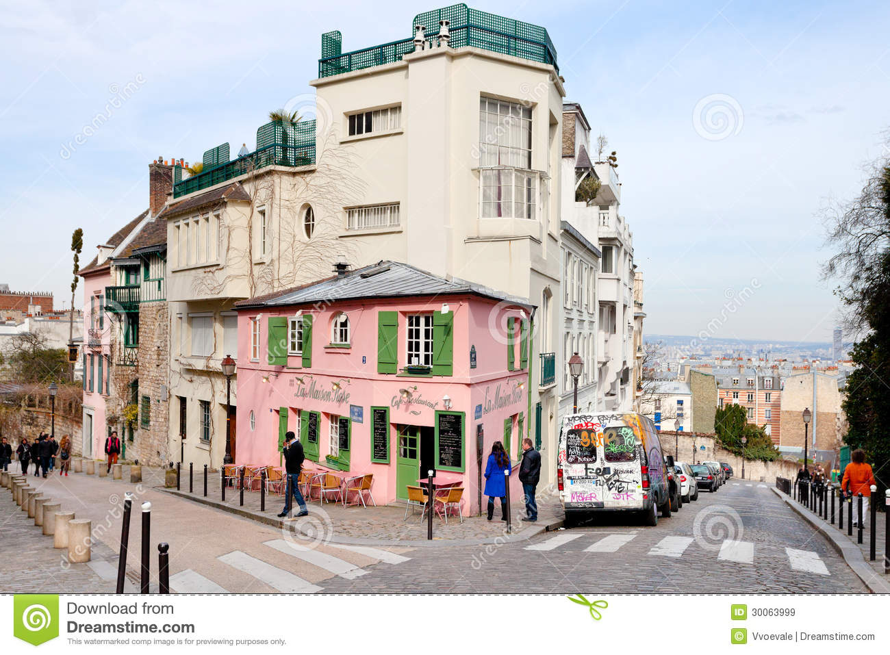 pink house historical bistro on montmartre paris editorial stock image image of. Black Bedroom Furniture Sets. Home Design Ideas