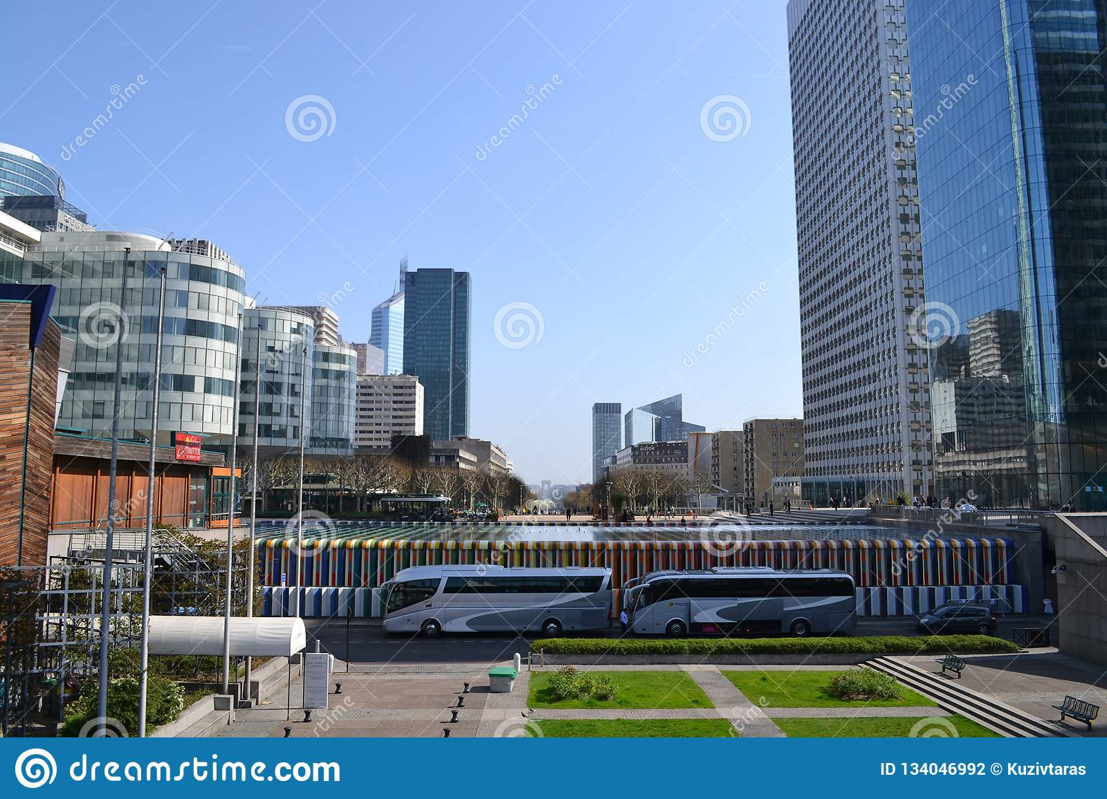 Paris / France - March 29 2012: Panorama of the district of La Defense in Paris towards the city center.