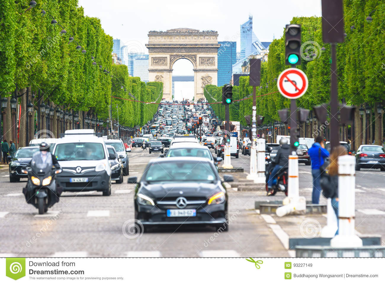Paris, France - May 3, 2017: Road traffic conditions of Champs-Elysees Avenue views from Place de la Concord on May 3, 2017, in P