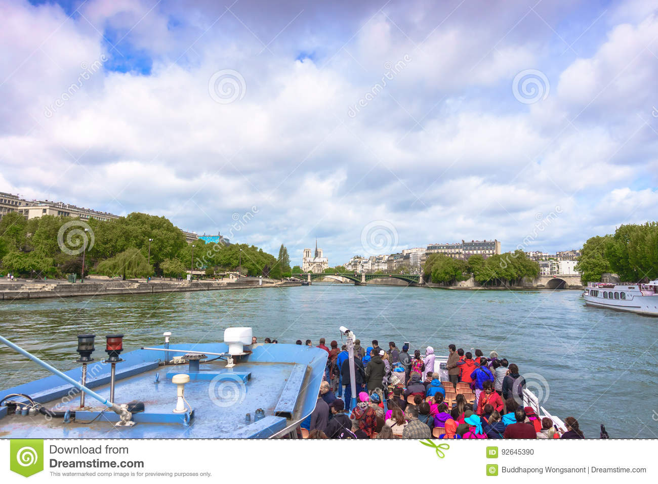 Paris, France - May 1, 2017: Tourists are cruising on the Seine