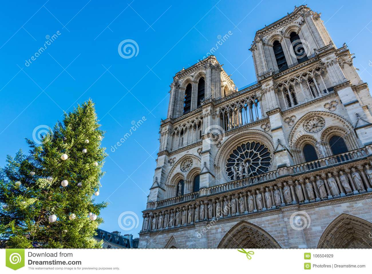 Cathedral Notre Dame De Paris With The Christmas Tree Stock Image ...