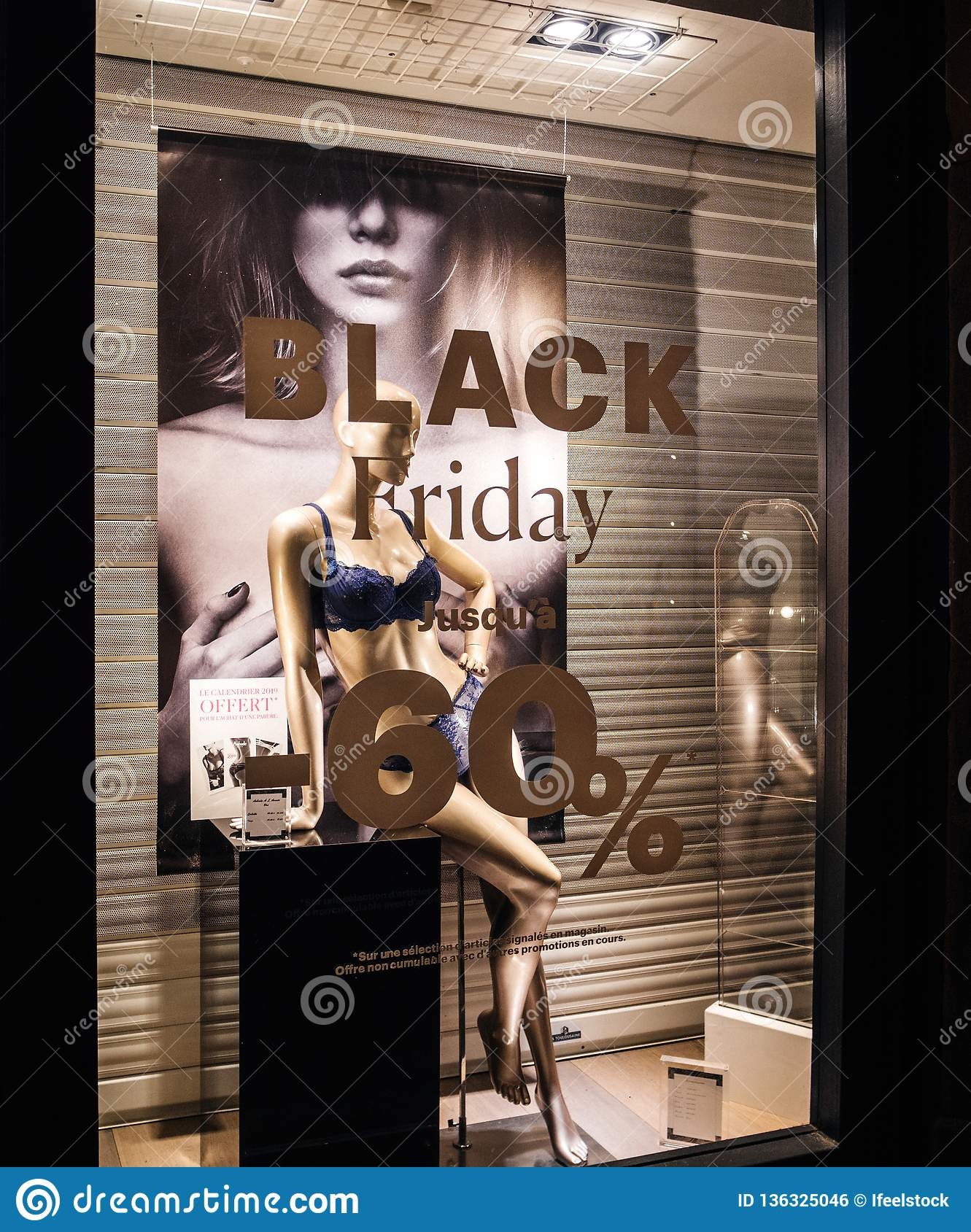 c027d15e1c Paris, France - Nov 25, 2018: lingerie on a mannequin in the showcase of a  fashion store with Black Friday discount reduction