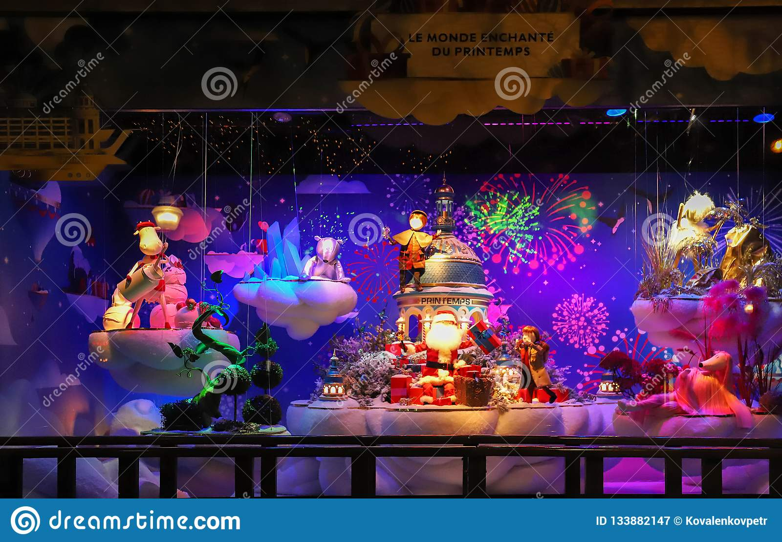 Paris, France-November 25, 2018   The Christmas showcase in Printemps  shopping center on boulevard Haussmann in Paris, France.The inscription in  French ... a459c8670dbb