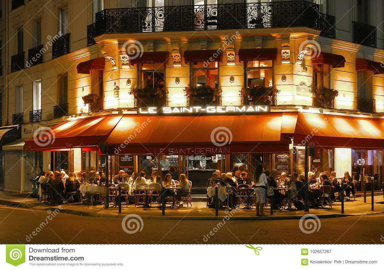 The Famous Cafe Saint Germain At Night,Paris, France