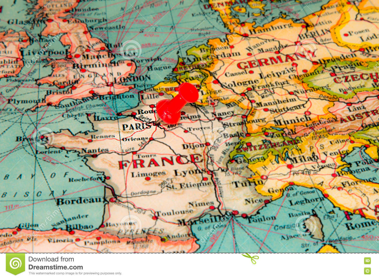 Paris France Pinned On Vintage Map Of Europe Stock Photo Image 78864904