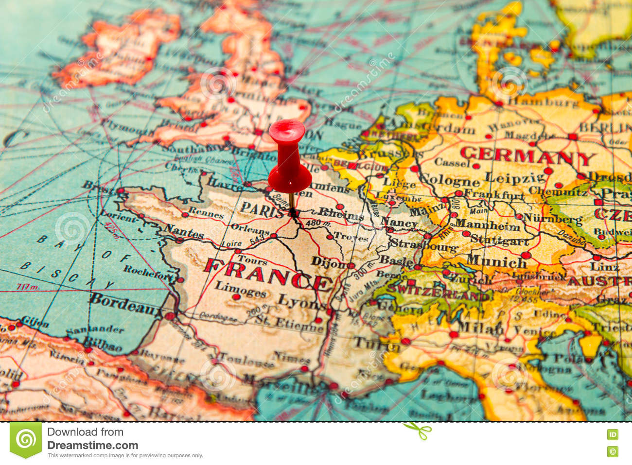 Map Of Europe Without France.Paris France Pinned On Vintage Map Of Europe Stock Photo Image Of