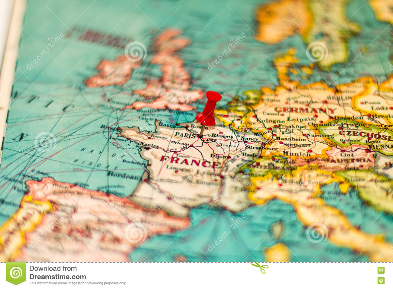 Paris On Europe Map.Paris France Pinned On Vintage Map Of Europe Stock Photo Image Of