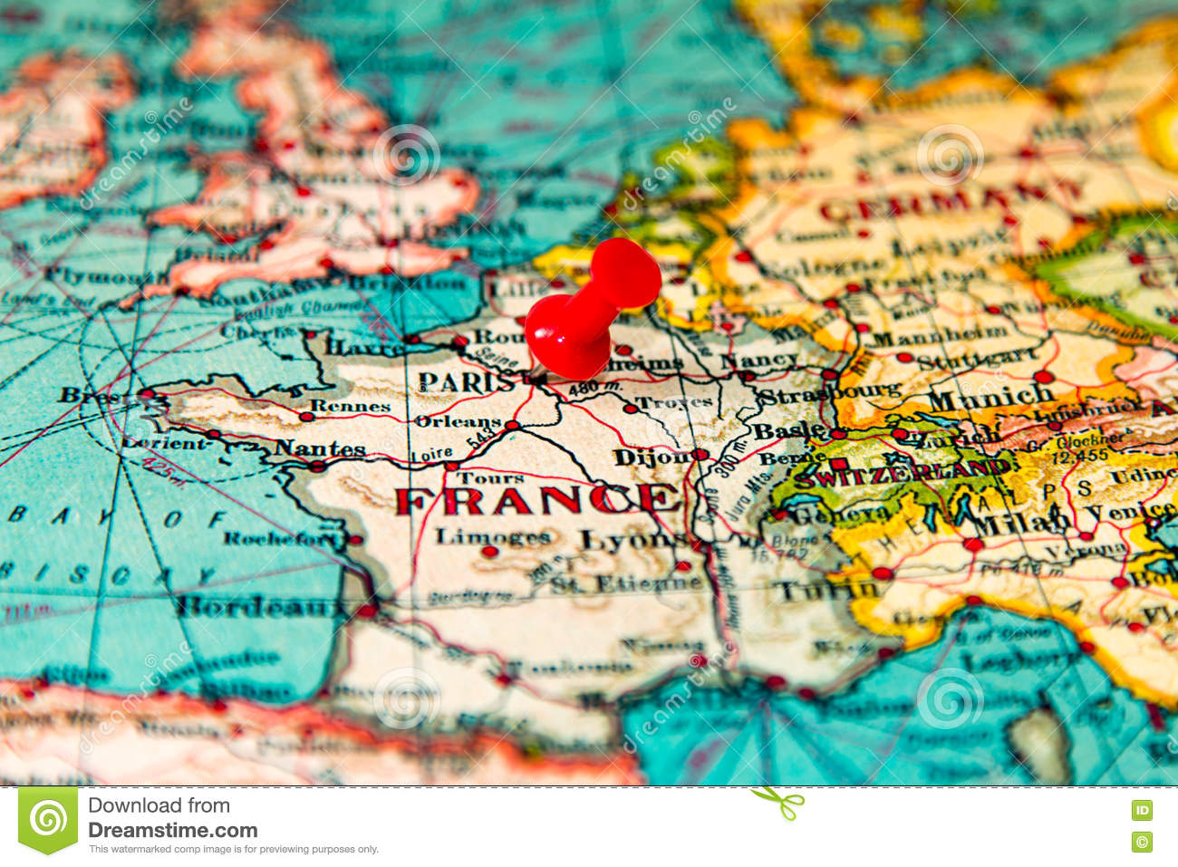 Map Of France And Europe.Paris France Pinned On Vintage Map Of Europe Stock Image Image Of