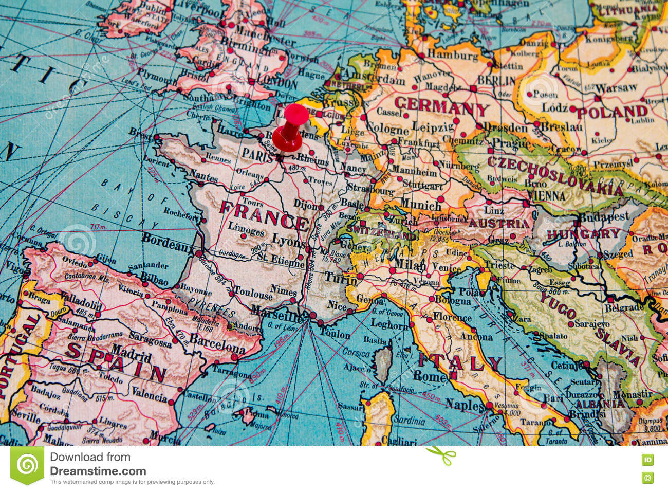 Paris On Map Of Europe.Paris France Pinned On Vintage Map Of Europe Stock Photo Image Of