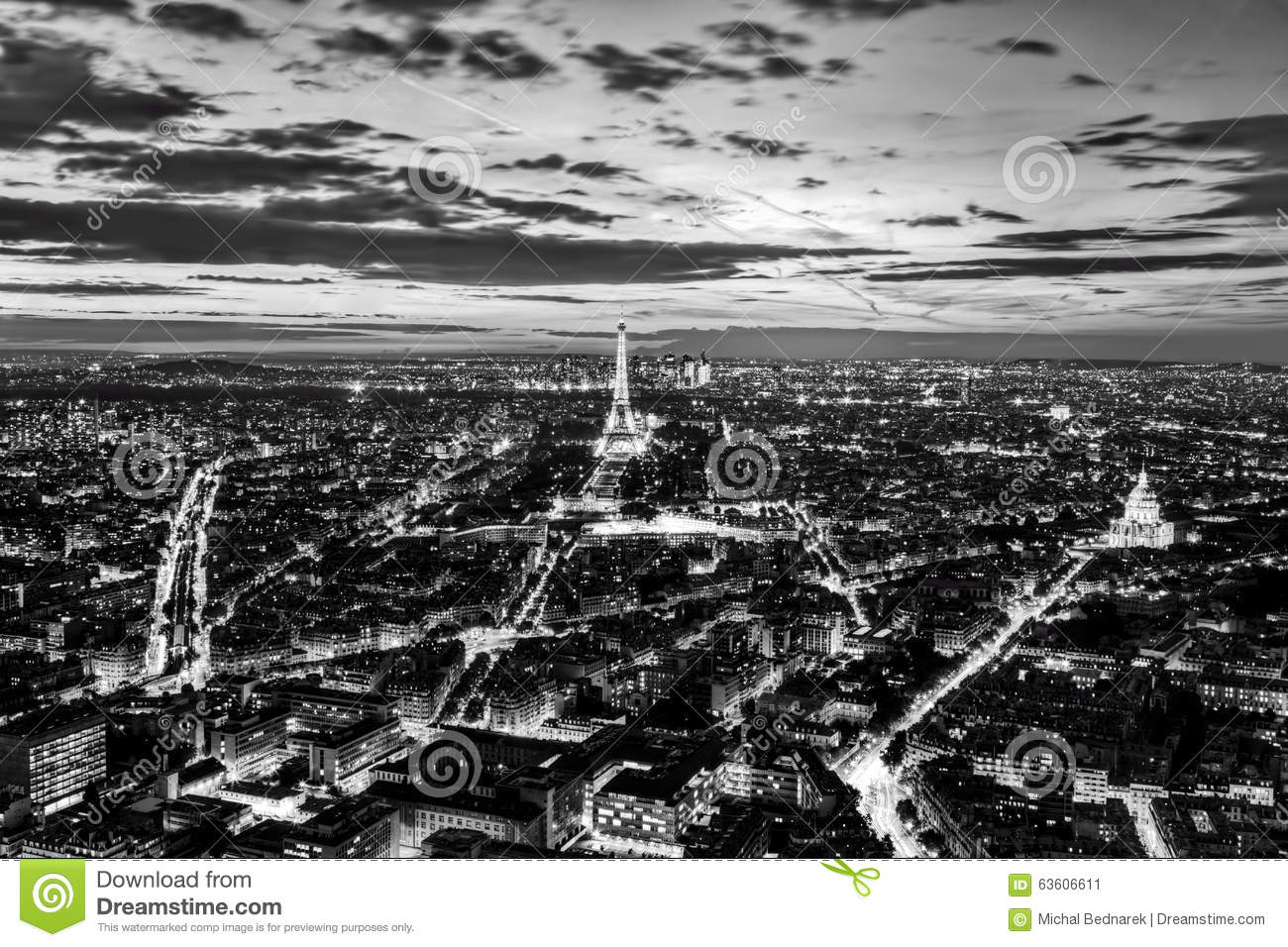 Eiffel Tower Black And White At Night