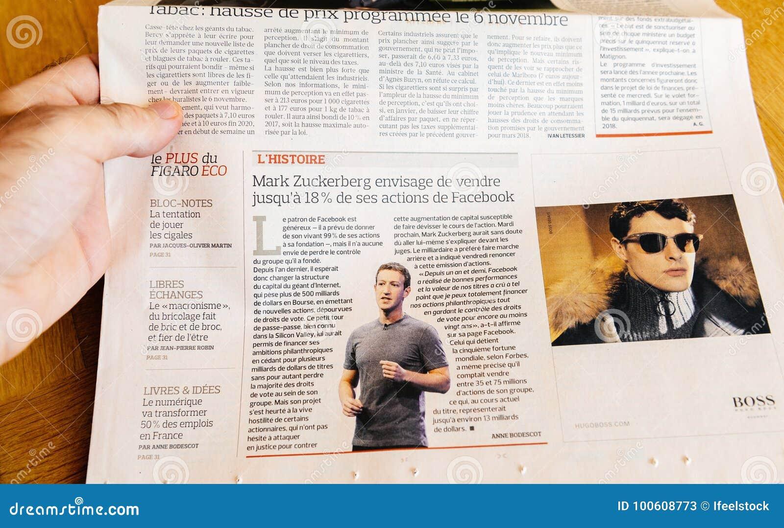 Man Reading Newspaper Zuckerberg Facebook CEO Intention To
