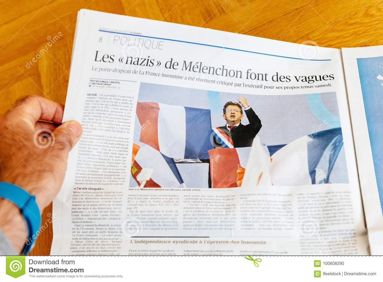 Man Reading Newspaper French Lean-Lux Melenchon Editorial