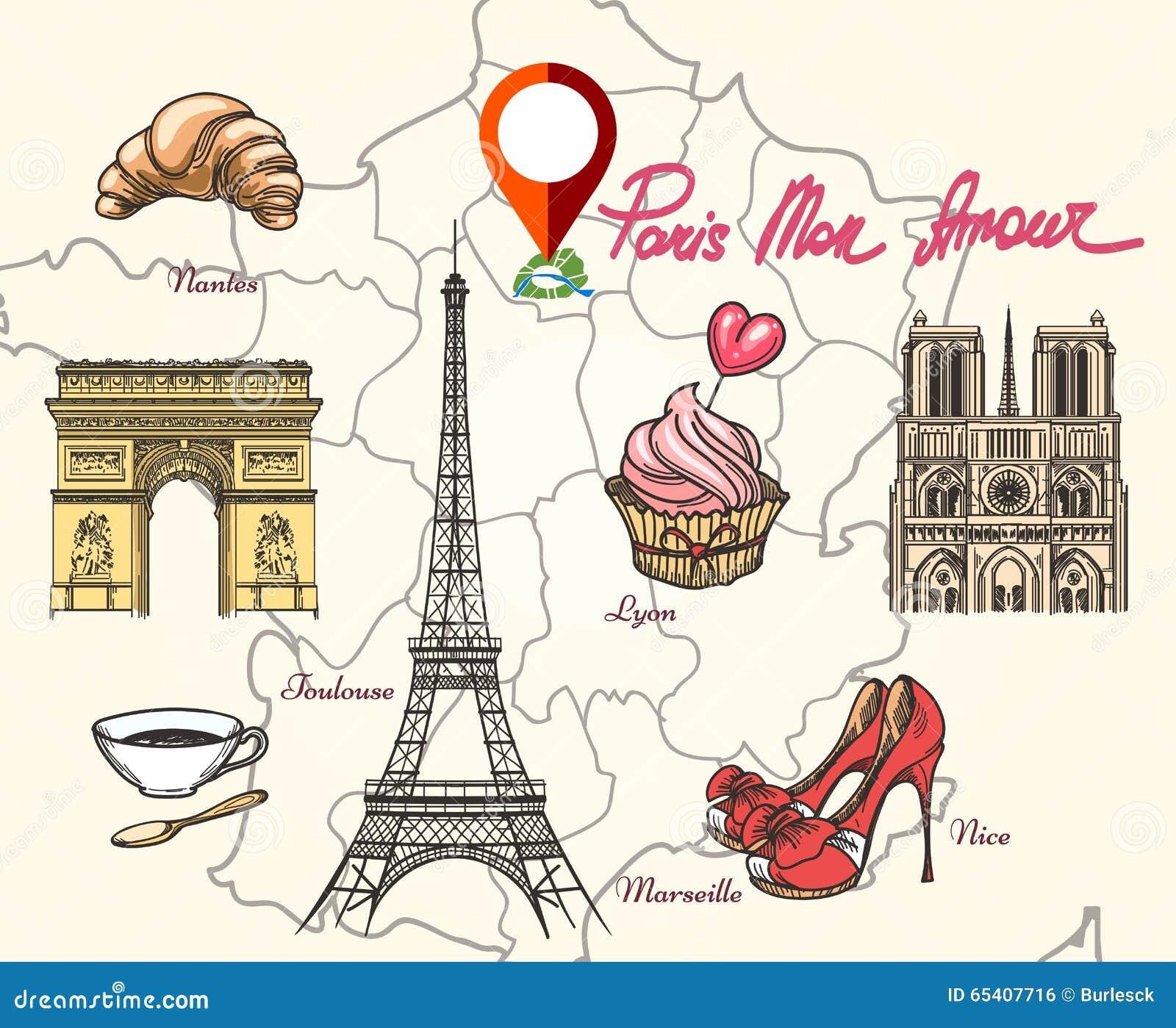 Paris France symbols. Tower eiffel, triumphal arc, cathedral and ...
