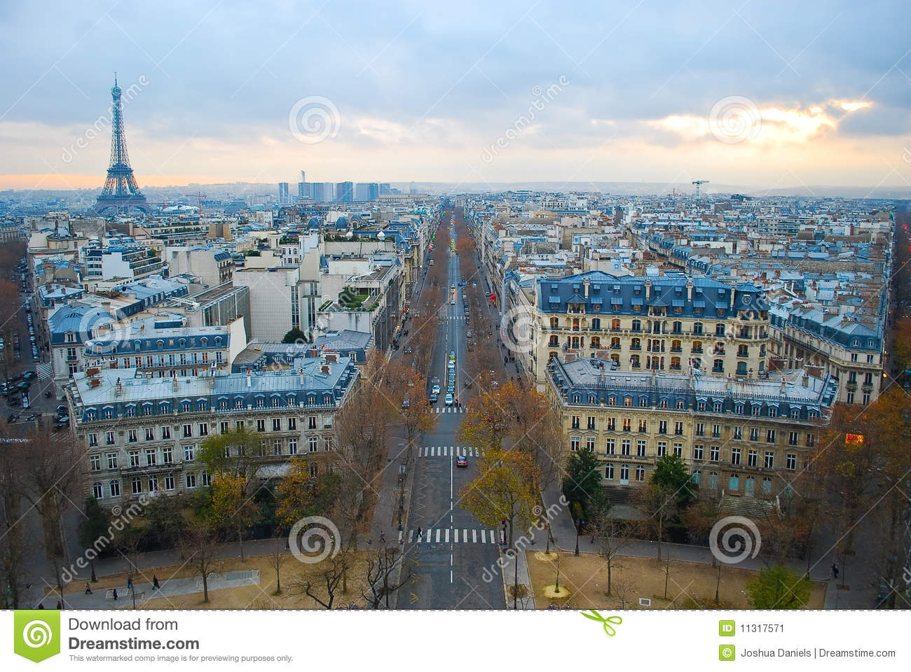 Paris, France, viewed from the Arc de Triomphe