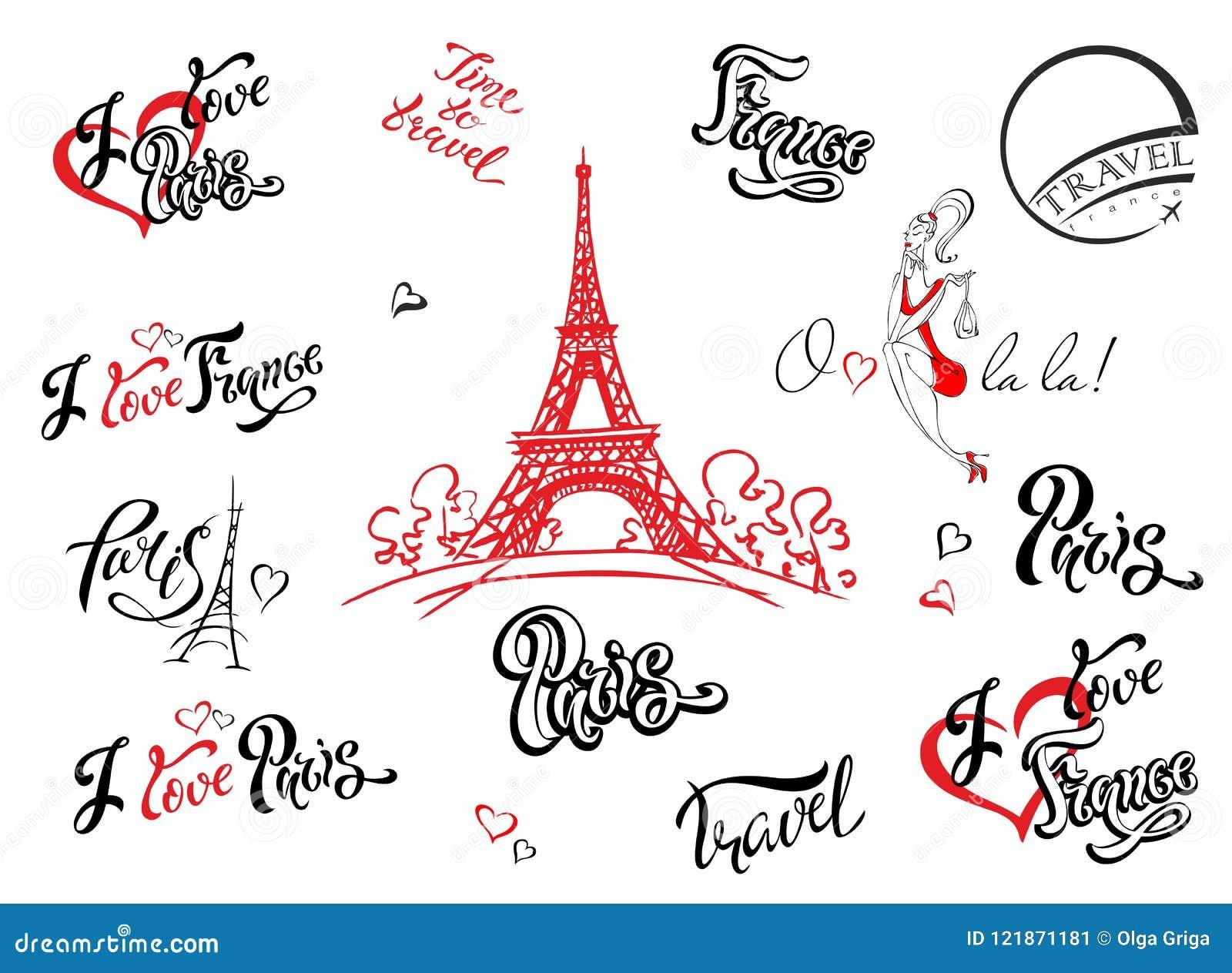 Paris Frankreich Set Elemente Für Auslegung Eiffelturmskizze