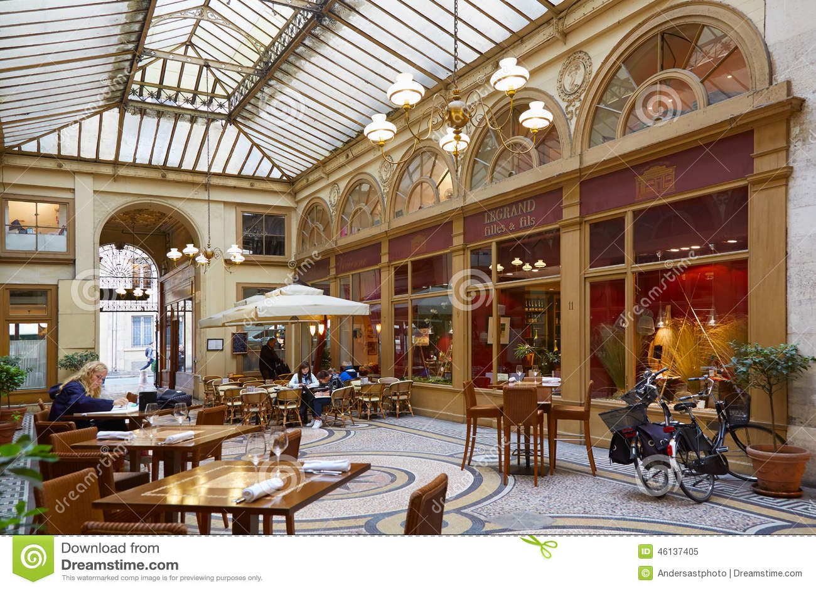 Paris Galerie Vivienne Passage With Restaurant Editorial