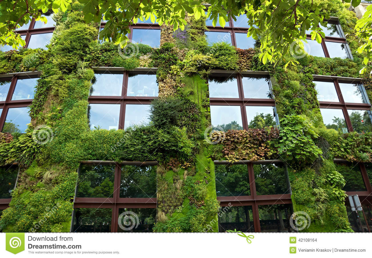 Paris Green Wall On Part Of The Exterior Of The Quai Branly Mu Editorial Stock Image Image