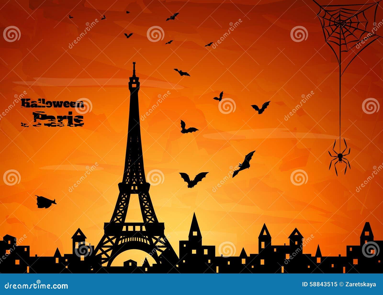 Paris halloween stock illustration image 58843515 for Paris orange card