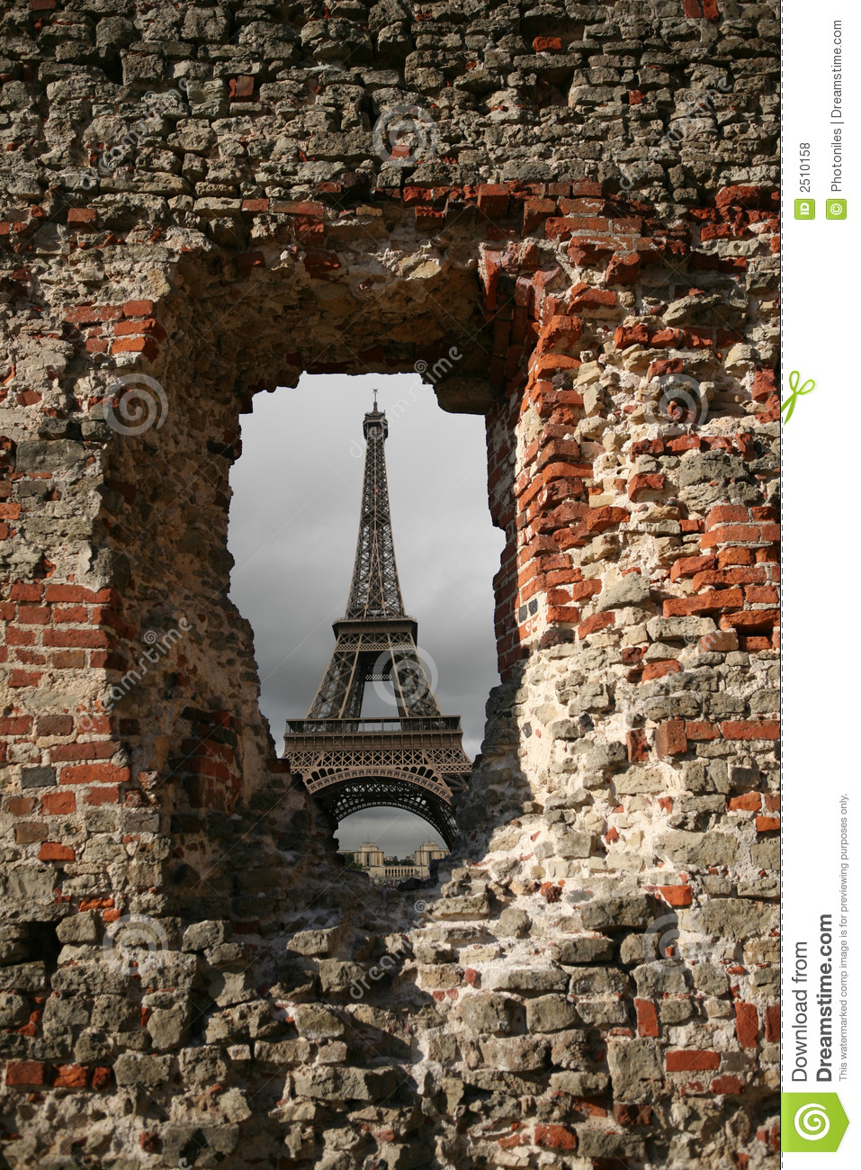 Paris Through Hole In The Wall Stock Photo - Image of ...