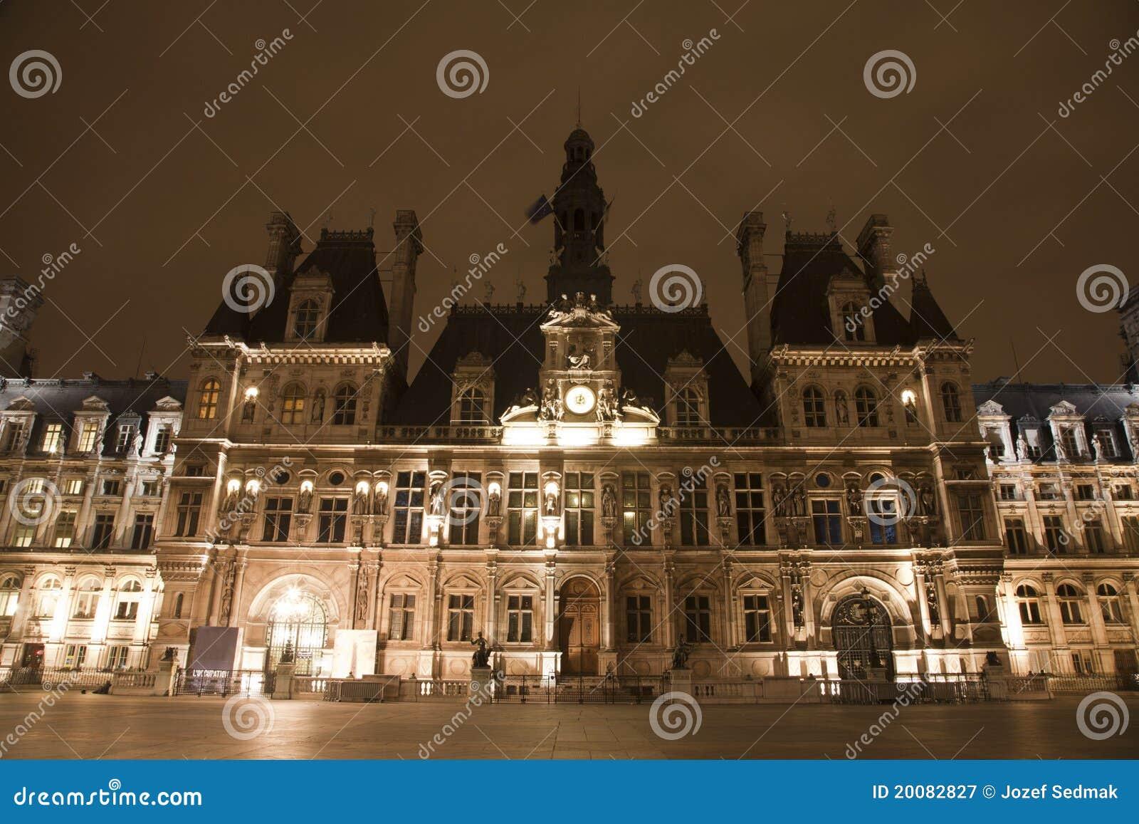 Paris Hotel De Ville In The Night Royalty Free Stock