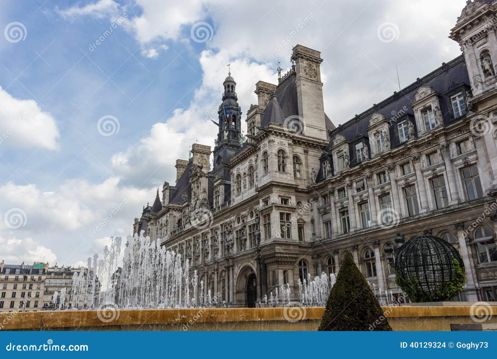 Paris Hotel De Ville Stock Photo Image 40129324