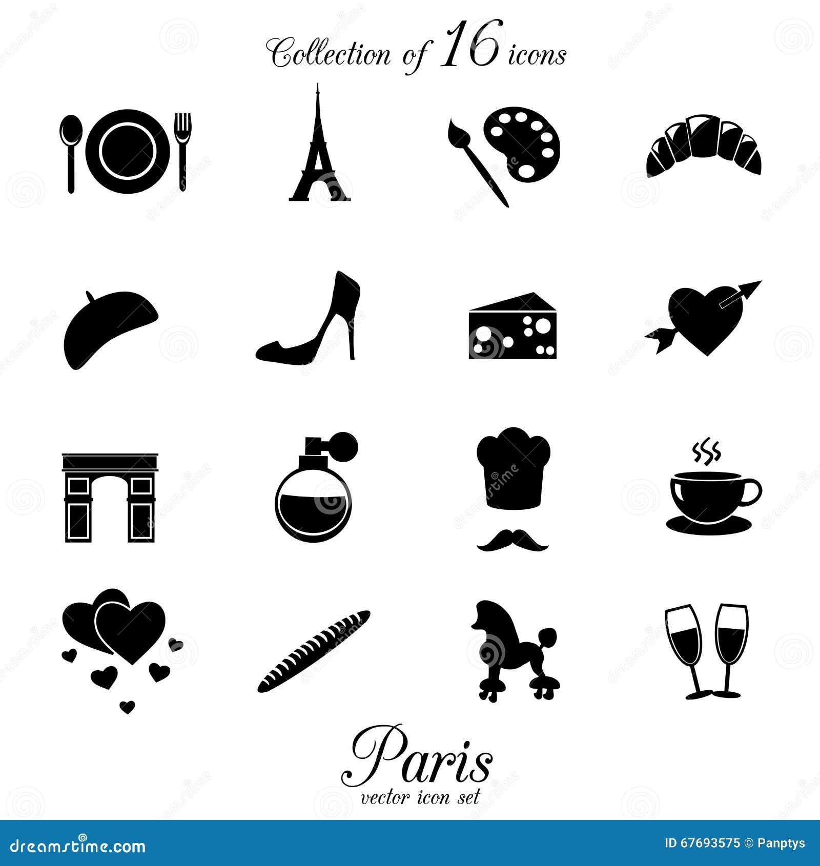 Paris Icon Set Stock Vector Illustration Of Arch Heart 67693575