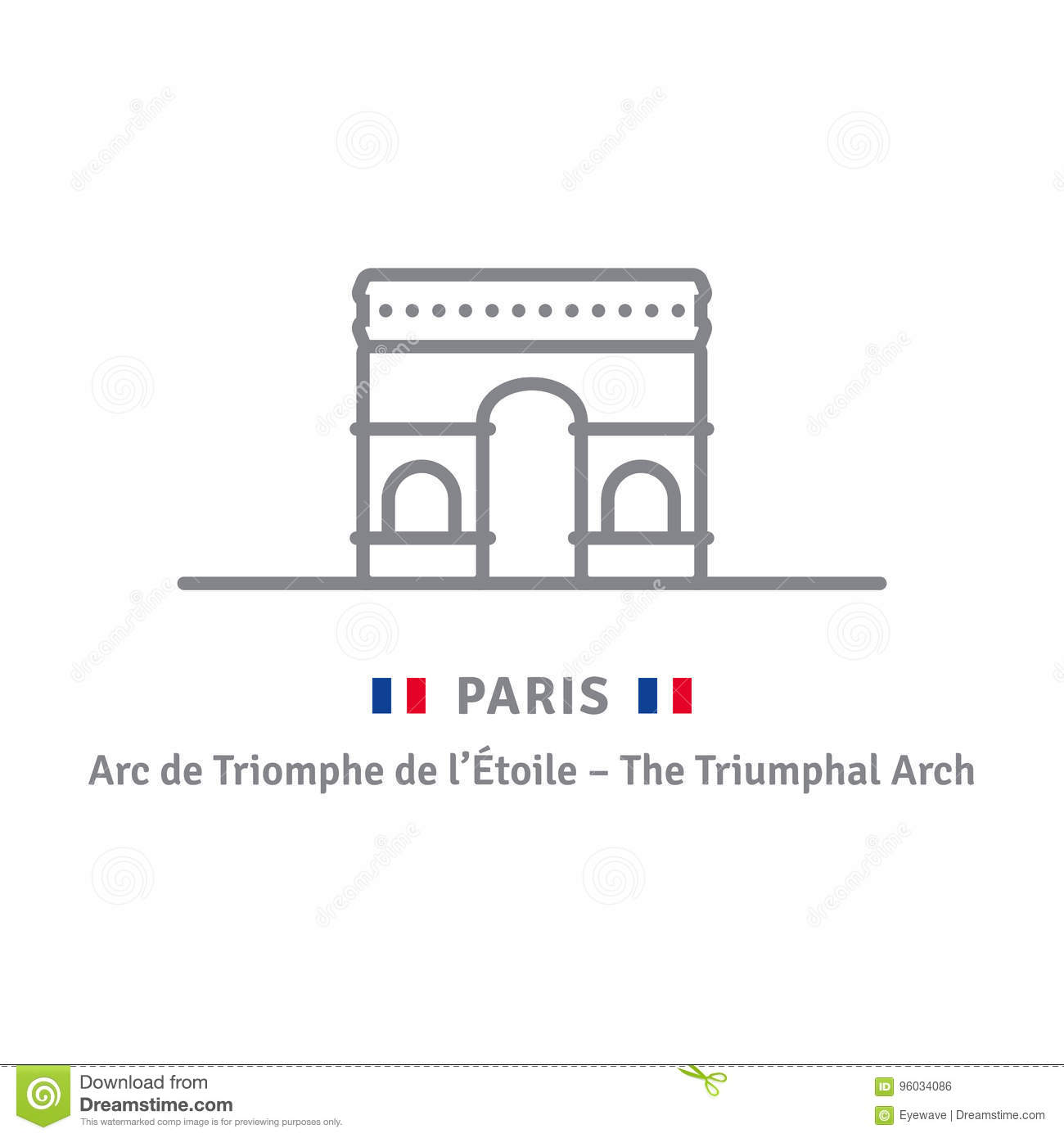 paris icon with triumphal arch and french flag