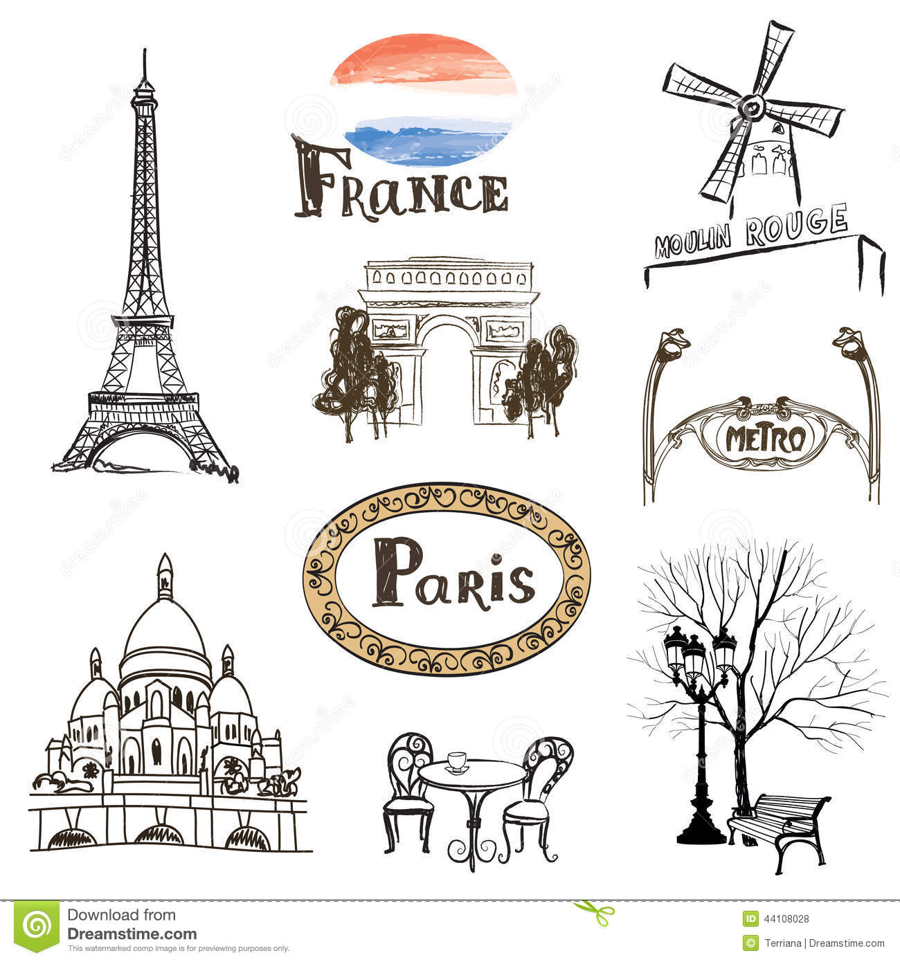 Paris Icons Set Hand drawn France Landmarks Eiffel Stock Illustration Image