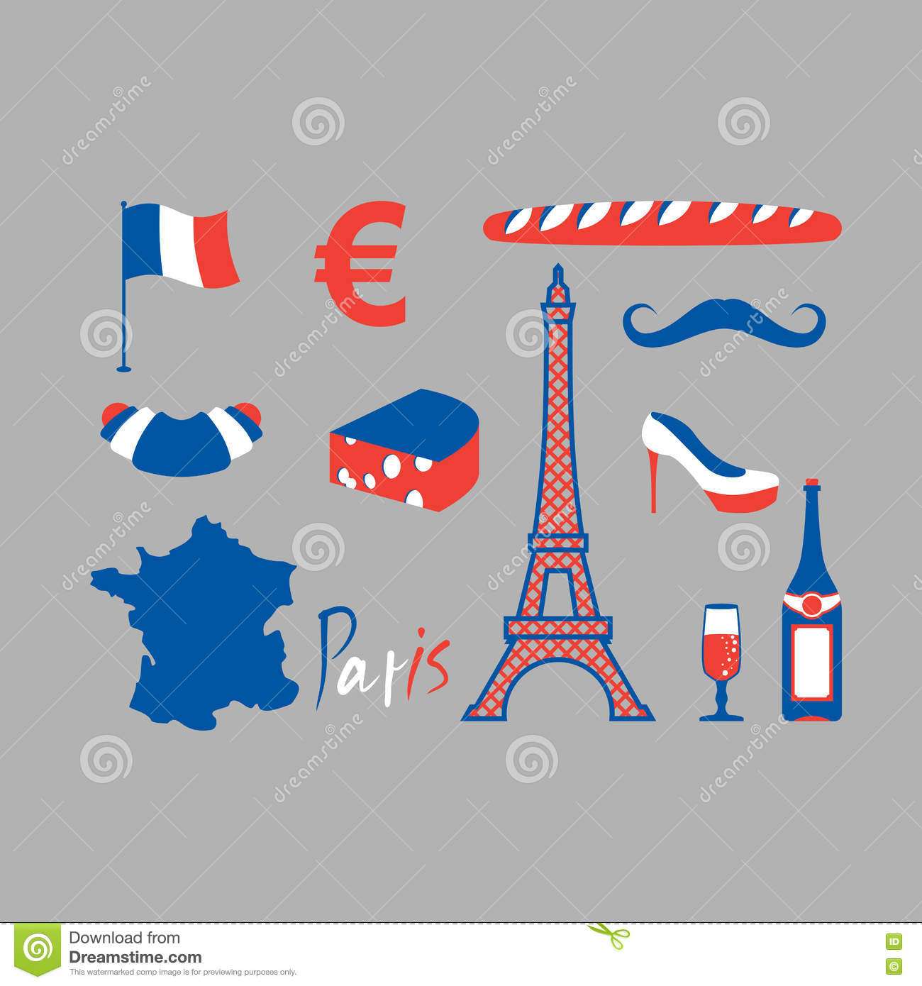 Icons symbols of france eiffel tower and map country baguette traditional french national symbols eiffel tow royalty free stock photos biocorpaavc