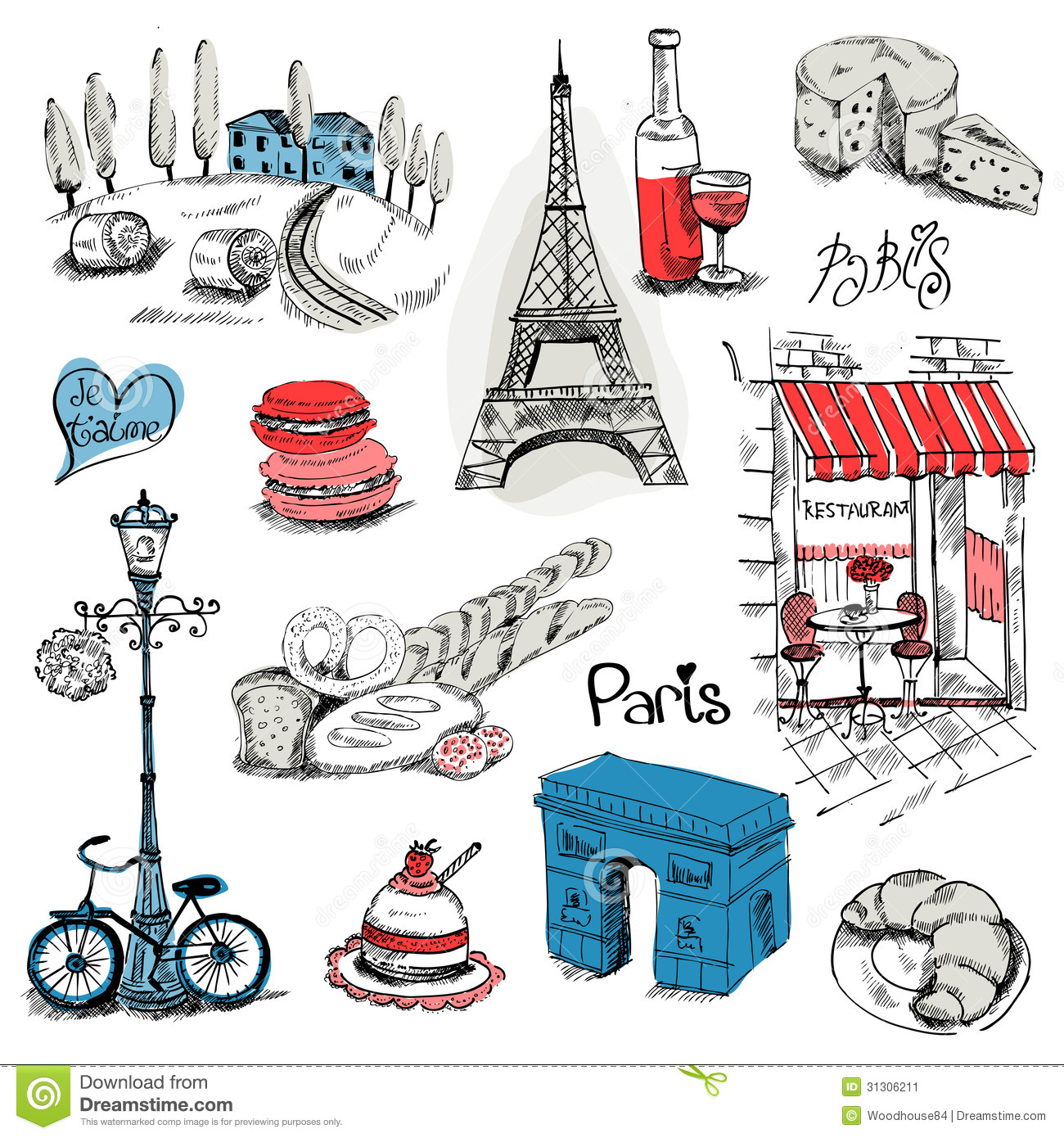 Paris illustration set stock image image 31306211 - Magasin de scrapbooking paris ...