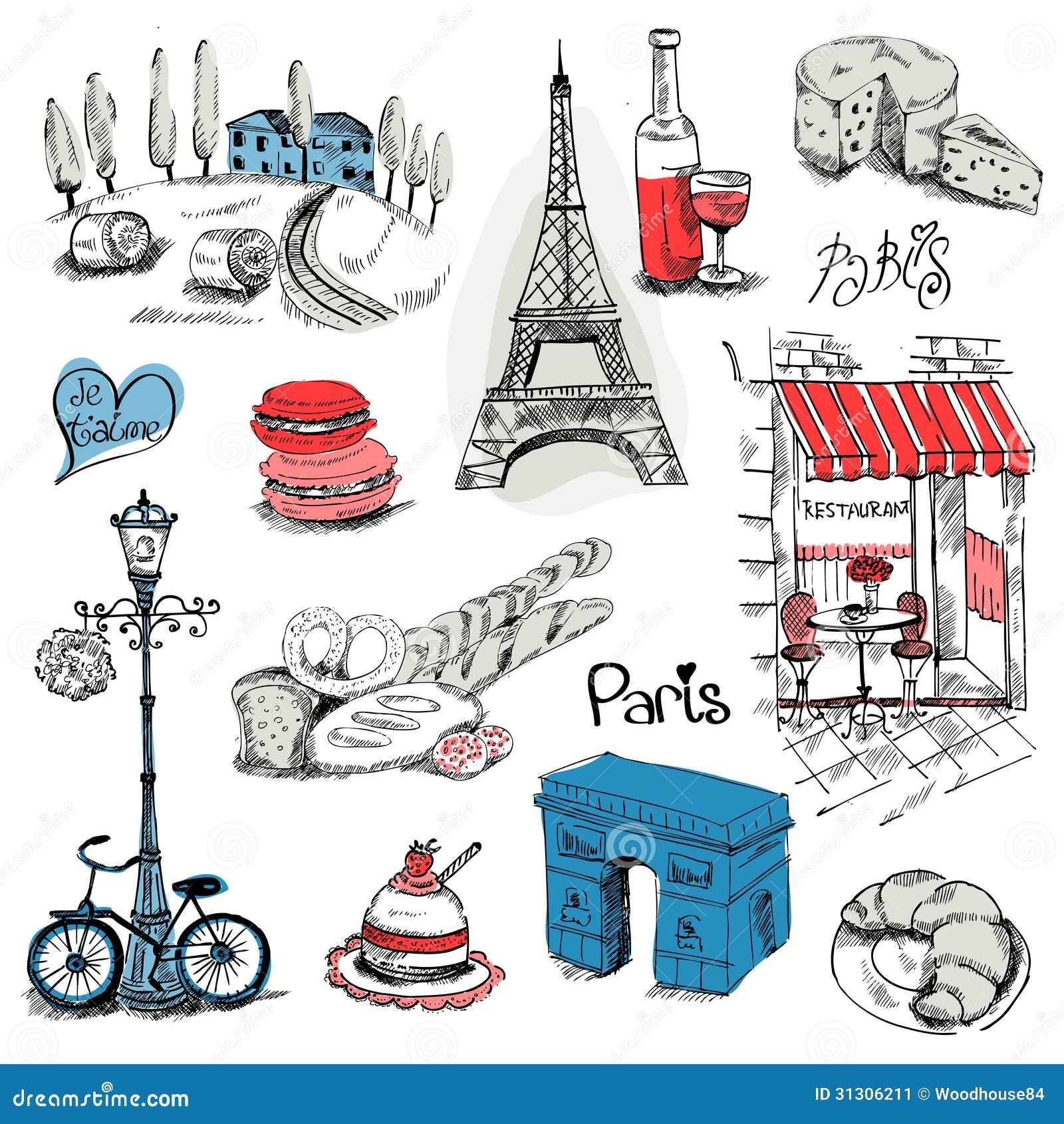 Paris illustrationuppsättning
