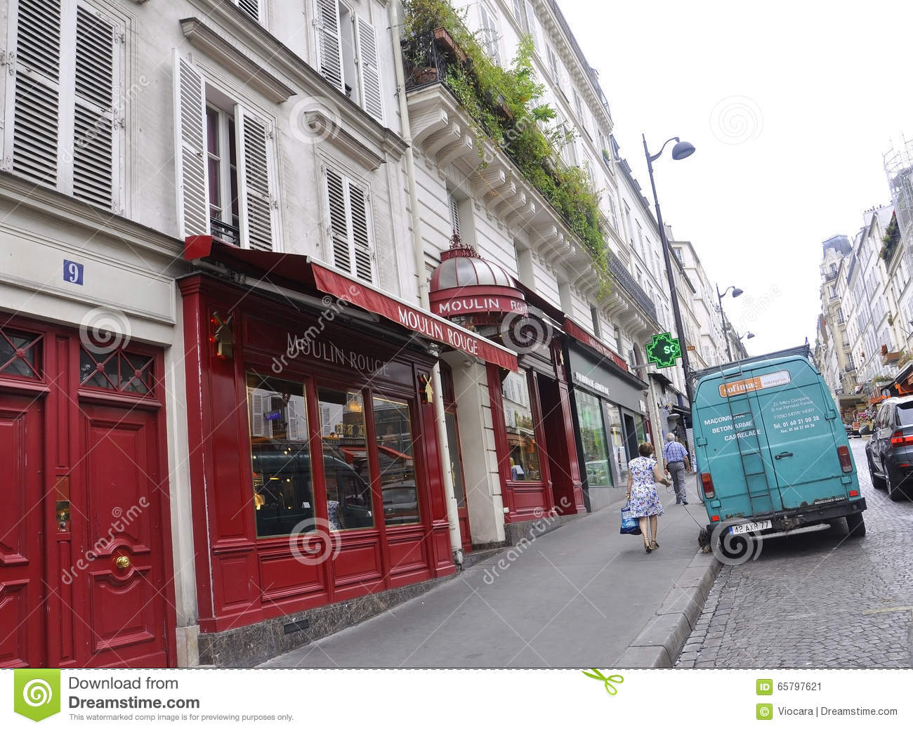 paris july 17 magasin moulin rouge from montmartre in paris editorial photo image 65797621. Black Bedroom Furniture Sets. Home Design Ideas