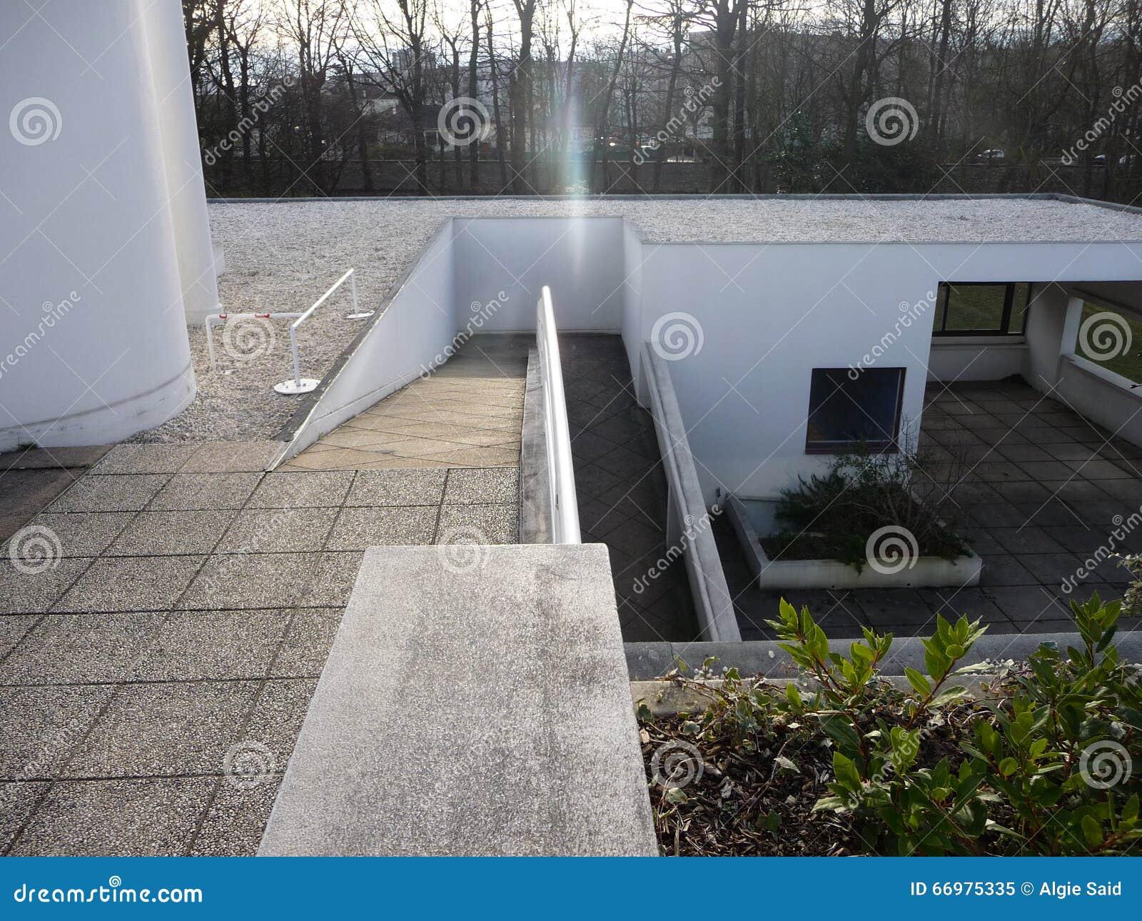 Paris Landhaus Savoye Dach Ansicht An Der Rampe Stockbild Bild