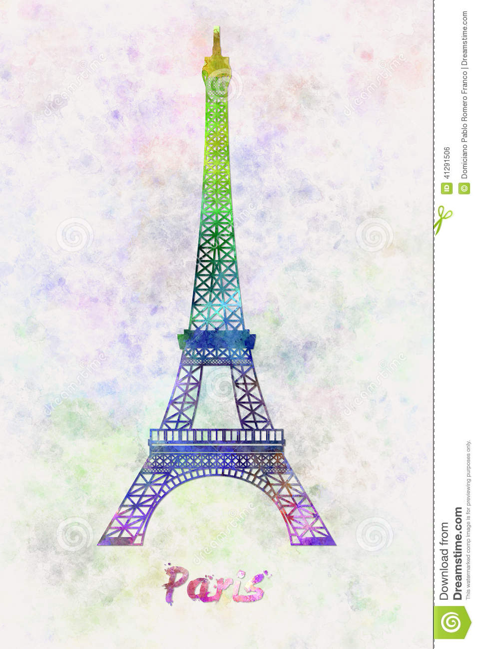 Exceptionnel Paris Landmark Tour Eiffel In Watercolor Stock Illustration  BG13