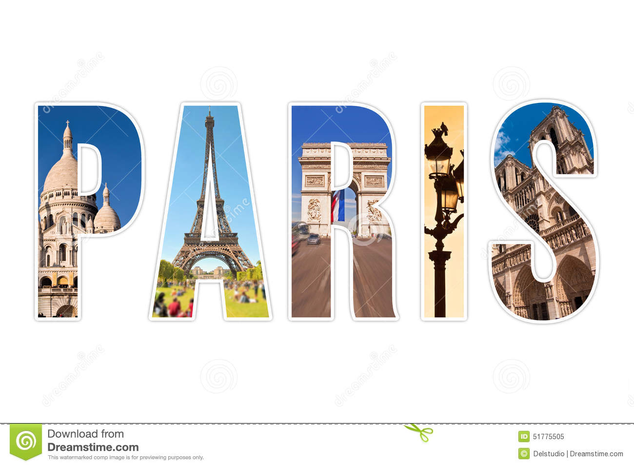 Paris Letters With Monuments Isolated On White Stock Illustration ...