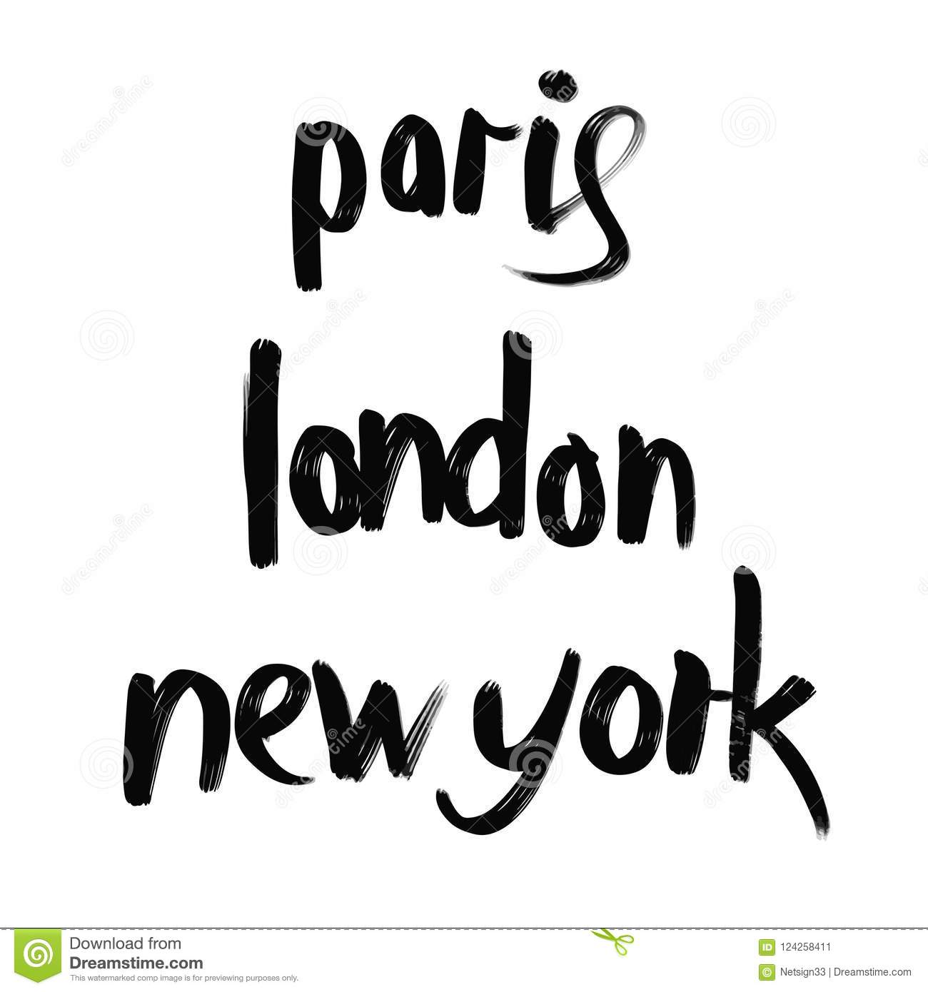 Paris London New York Lettering Stock Vector Illustration Of