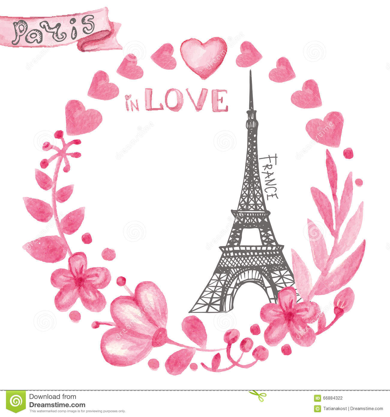 Paris In LoveWatercolor Floral Pink WreathEiffel Tower Stock Vector