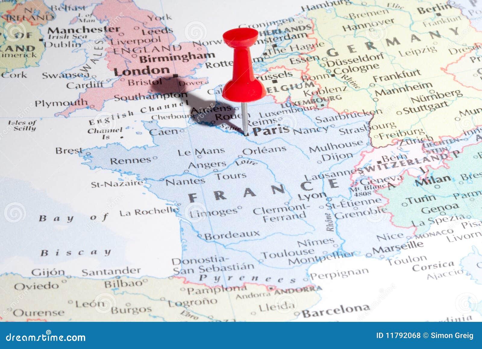 Paris Map Pin Stock Photo Image Of City Travel Destination 11792068